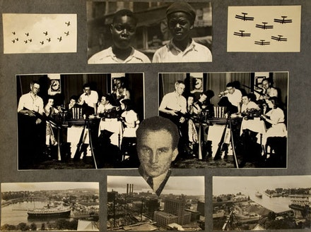 Two snapshots of Mattick (center of group, with pipe) and friends in Chicago during the 1930s, page from a photo album.